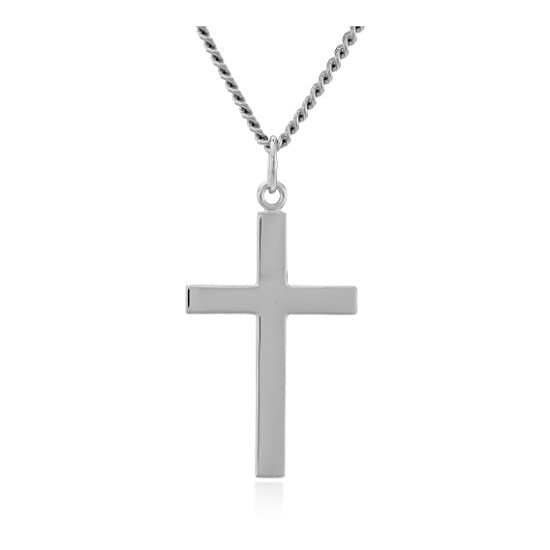Men's Sterling Silver Solid Polished Cross with Lord's Prayer Inscription and Stainless Steel Chain, 24″