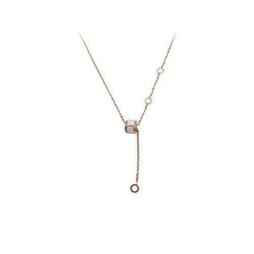 Varitystore Collar de la letra del micro diamante de la rueda femenina simple largo párrafo luz de lujo clavícula cadena temperamento collar