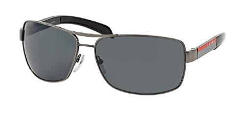 Prada PS54IS 5AV5Z1 65M Gunmetal/Grey Polarized Rectangle Sunglasses For Men+FREE Complimentary Eyewear Care Kit