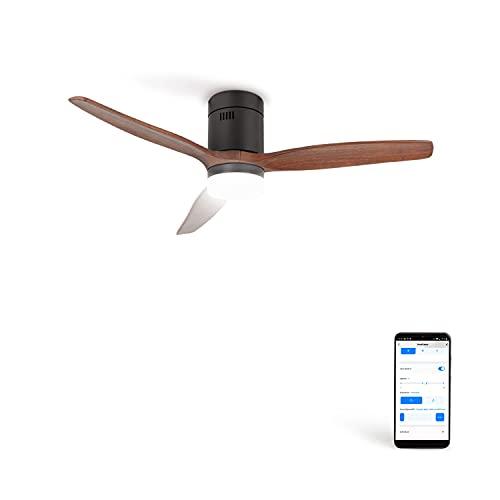 CREATE IKOHS WINDCALM DC STYLANCE - Ventilador de Techo Wifi, con Mando a Distancia, 3 Aspas, Potencia de 40W, Ultrasilencioso, 132 cm de Diametro, 6 Velocidades (con luz - madera oscura)