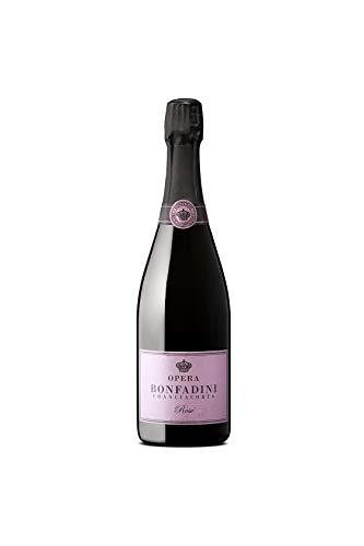 BONFADINI FRANCIACORTA Astuccio Regalo Vino con Spumante Franciacorta, 1 Bottiglia di Franciacorta Rosè DOCG Opera 750 ml, Alcool 12.50%, Servire a 7/9 °C