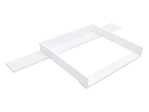 I Love My Kid Wickeltischaufsatz weiß für breite Hemnes Kommode 160 cm, auch für gebeizte mit seitlichen Blenden