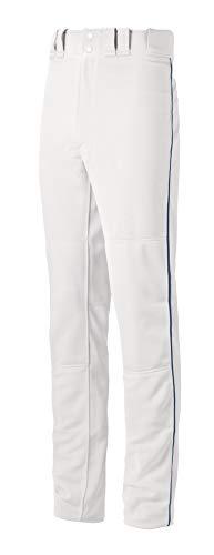 Mizuno Jungen Youth MVP Pro Piped Baseball-Hose, Weiß/Marineblau, Jugend Small