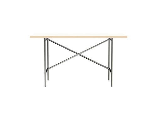 Modulor Tisch E2 mit pulverbeschichtetem Tischgestell und seidenmatter Tischplatte (68 x 138 cm, Farblos und Weiß)