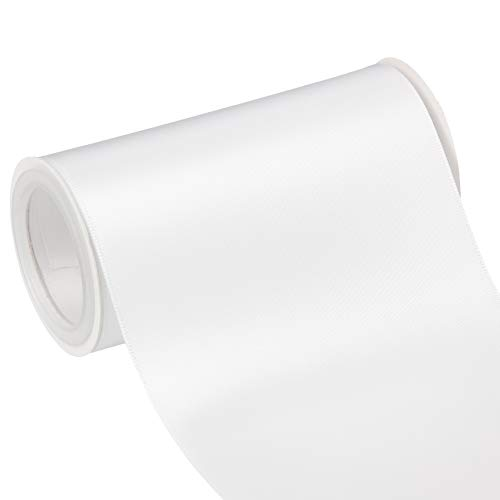 VATIN 4 Wide Double Faced Polyester White Satin Ribbon- 5 Yard/Spool, Perfect for Chair Sash, Making Bow, Sewing and Wedding Bouquet