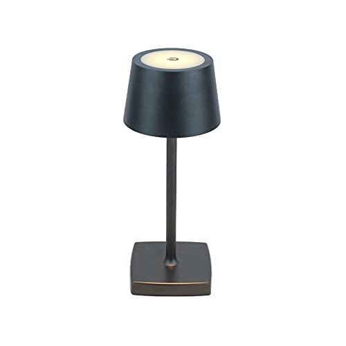 mini lámpara de mesa LED inalámbrica, lámpara de noche, lámpara de mesa de restaurante, recargable, protección IP54, aluminio, apta para iluminación interior y exterior negra