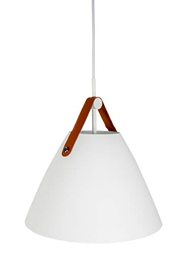 Hyperikon Pendant Light, 14-inch White Ceiling Light Fixture, Iron Cone with Leather Strap, Hardwired Modern Pendant Lamp, E26 One-Light Fixture, Residential, Kitchen, UL - No Bulb Included (Phoebe)