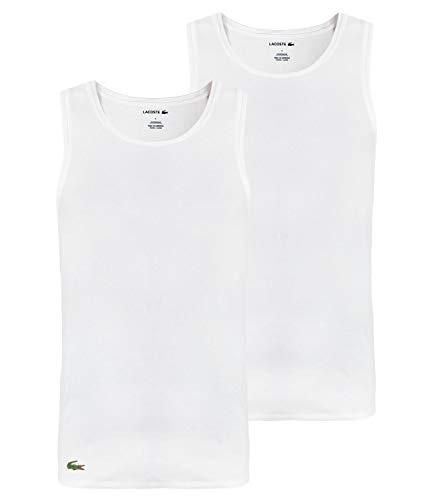 Lacoste Herren TH3452 Unterhemd, Männer 2er-Set,Tank-Tops,Unterwäsche,Rundhals-Ausschnitt,ohne Arm,Regular Fit,Weiß,S