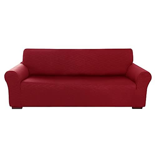 Amazon Brand - Umi Fundas para Sofa 3 Piezas Funda Sofa con Patrón de Onda Elasticas Ajustable contra Manchas Protectora Moderna Suave Rojo Oscuro