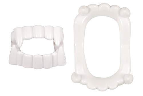 HENBRANDT Dents de Vampire Enfant 4,5 cm | Dentier Blanc Plastique | Crocs Fangs | Dracula Loup Garou | Halloween Carnaval | Accessoire Déguisement