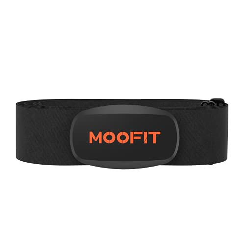 moofit ANT+ Heart Rate Monitor with Chest Strap Bluetooth HR Sensor IPX7 Waterproof Compatible with Zwift, Rouvy, TRX, EliteHRV, Peloton, Strava for iOS, Android (MooFit app Unavailable)