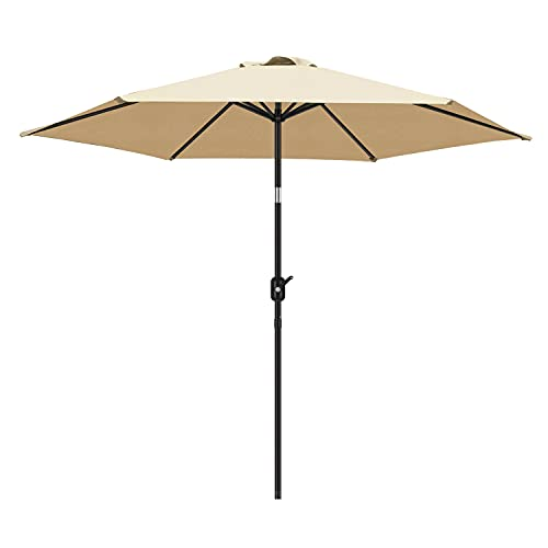 FRUITEAM Upgraded 9Ft Market Umbrella Fade Resistant Patio Outdoor Table Umbrella with Ventilation, Tilt, Waterproof, 95% UV Protection and 2 Years Non-Fading Top, Beige