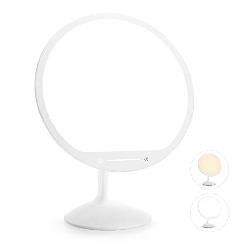 Gladle Light Therapy Lamp with Warm & Cool Light, UV-Free 10000 Lux Bright Light Box with 30min Timer, Portable LED Sun Lamp, Happy Daylight Lamp with Touch Dimming, Flexible Stand, Memory Function