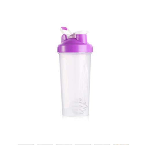 Botella de Agua Itness de 400 ml Botella coctelera Creativa Botella de Mezcla de Polvo de proteína de suero Deportivo con Bola agitadora Sin BPA púrpura