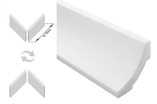 Zierleisten Sparpaket E-12-NK | inkl. vorgefertigte Ecken | leicht und stabil | extrudiertes Styropor | Stuckprofile | modern weiß | dekorativ | XPS | 50 x 50 mm | 20 Meter + 4 Ecken