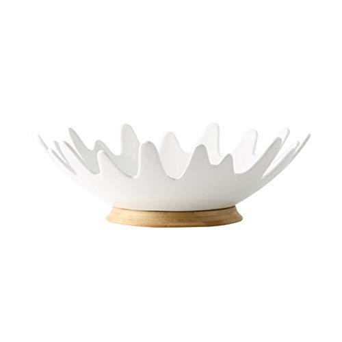 DAGONGREN Canasta de Frutas de cerámica Simple, decoración de Mesa para el hogar, Plato de Frutas, Canasta de Almacenamiento para Sala de Estar, Platos de Base de bambú