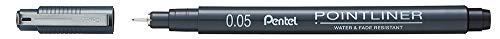 Pentel Pointliner S20P-05A, Fineliner, schwarz, wasserfest und lichtecht, 0,05 mm