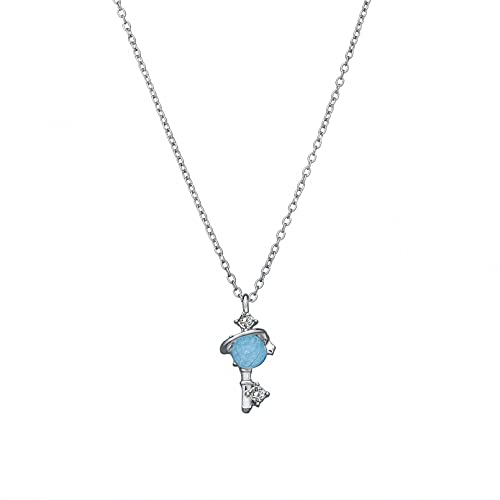 chenyueshangmao Collar Colgante Joyería Fantasy Blue Planet Key Colgante Collar Moda Femenina Collar de Accesorios de Diamantes Ajustable Collar Amistad Aniversario San Valentín Cumpleaños Regalo