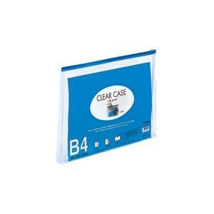 (業務用100セット) LIHITLAB クリアケース/クリアポーチ 【B4/ワイドマチ付き】 ヨコ型 F-75SM 藍 ds-1735273