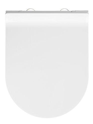 WENKO Premium WC-Sitz Habos - Toiletten-Sitz mit Absenkautomatik, rostfreie Fix-Clip Hygiene Edelstahlbefestigung, Thermoplast, 36 x 46 cm, Weiß