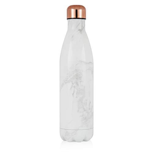 TOWER Sportflasche, 750 ml, vakuumisoliert, Weißer Marmor und Roségold, groß