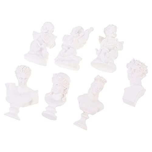 YARNOW 7 Piezas de Escultura Y Estatuas Griegas Resina Estatua de Dios Romano Figura de Mitología Retratos de Yeso Estilo Nórdico Artesanía Práctica Decoración de Mesa Centro de Mesa