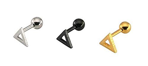 KnSam Stainless Steel Jewelry, Womens Stud Earrings, Comfort Fit Hollow Triangle Gold&Silver&Black 3 Pcs-6Mm