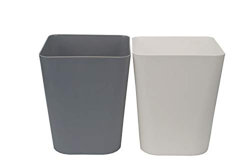 Feiupe 1.6 Gallon Small Trash Can Wastebasket for Kitchen Office Bathroom,Pack of 2(1.6 Gallon(2 Pack), White+Gray)