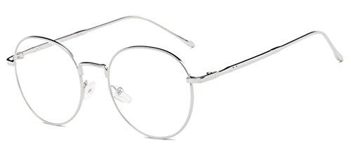 DAUCO Unisex Silber Und Schwarz Retro Sixties Style Runde Metall Brillen Damen Herren Klare Linse