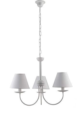 lampadario 3 luci bianco Lampadario Shabby Bianco 3 Luci in Metallo con Paralumi in Tessuto Made in Italy 100%