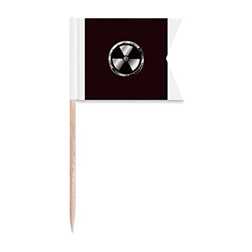 Logo Negro Fondo Radiactivo Sustancias Advertencia Palillo de Dientes Banderas Etiquetado para Fiesta Pastel Alimentos Queso