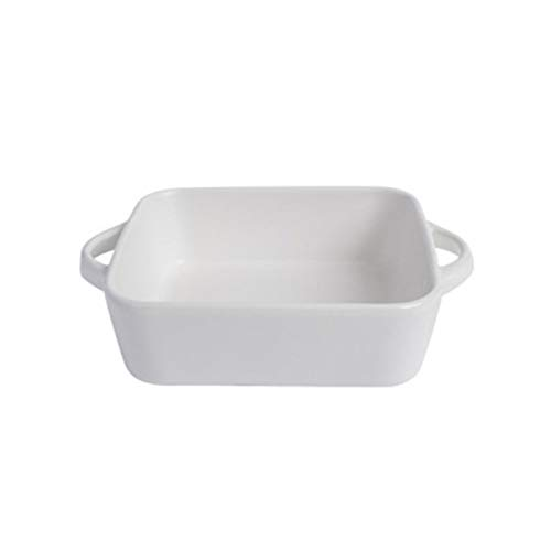Ramekin, ceramic souffle moulds, lasagne mould, rectangular cream brulee bowl, casserole and soufflé moulds, double handle casserole dish, oven dish for baking, cooking, serving and more (white)