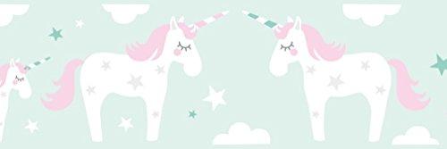 lovely label Bordüre selbstklebend Einhorn ROSA/Mint - Wandbordüre Kinderzimmer/Babyzimmer mit Einhörnern und Sternen – Wandtattoo Schlafzimmer Mädchen & Junge – Wanddeko Baby/Kinder
