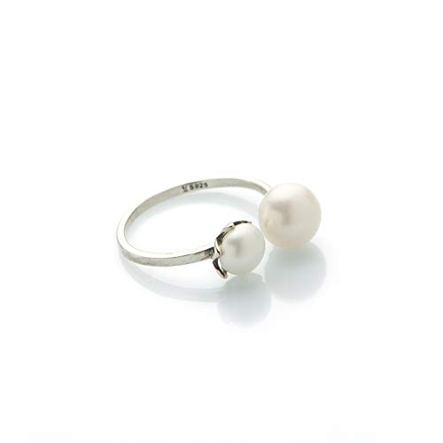 Anello con perle coltivate di acqua dolce e argento 925 perle AAA da 8 mm