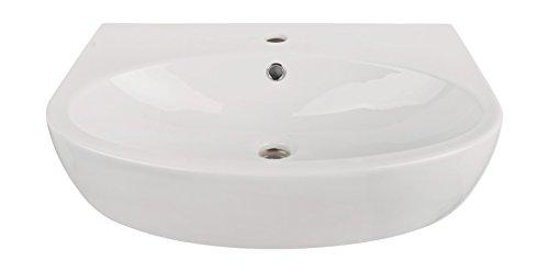'aquaSu® Waschtisch faCila, 60 cm, Weiß, Waschbecken, Waschplatz, Bad, Badezimmer, Gäste-WC, Keramik, Mit Überlaufschutz, Design
