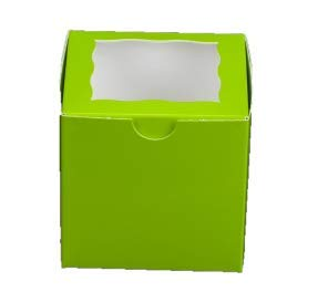 Lime Green Bakery Box with Window 4x4x4 inch 25 Pack Cupcake Boxes, Gift Box, Wedding, Party Favor, Donut, Pie, Cookie Boxes