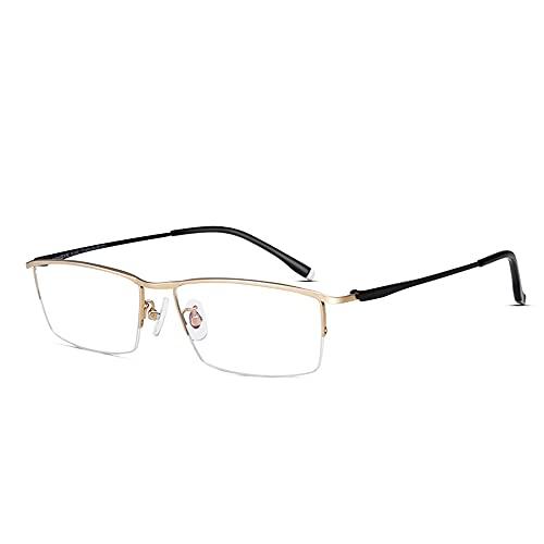 CAOXN Gafas De Lectura Progresivas Multi-Foco Anti-Luz Azul para Hombres, Gafas De Lectura De Juegos De Computadora Antifatiga con Montura De Titanio Puro,Oro,+3.00