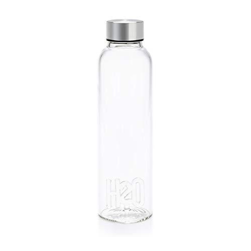 Balvi Botella H2O para Agua 0,5 LTS Tapón antigoteo de Acero Inoxidable Ideal mesita de Noche y Oficina Borosilicato 23 cm