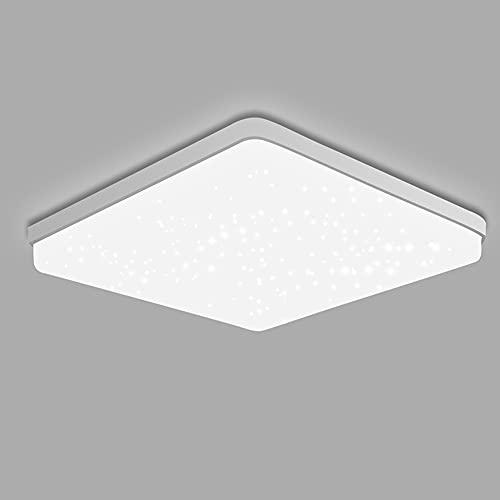 AOMEX Plafoniera LED a Soffitto Moderni Quadrato 48W cielo stellato lampada soffitto LED IP44 Impermeabile 4320LM Luce Bianco Freddo 6500K per Camera da letto Bagno Cucina Sala Soggiorno Corridoio