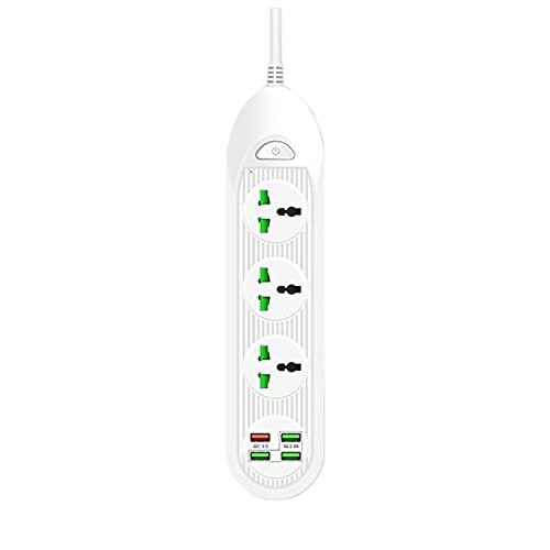 GYL Regleta Enchufes, Regleta Múltiple De 3 Enchufes 4 Enchufes USB Toma De Corriente con Protección contra Sobrecargas Y Interruptores 3000W 16W 5V 16A 2M para Teléfono Hogar Oficina,Blanco