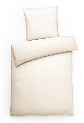 Carpe Sonno Elegante Interlock-Jersey Bettwäsche 135 x 200 cm Champagner-farbene Ganzjahres-Bettwäsche mit Reißverschluss aus 100% Baumwolle - 2-teilige Hotel-Bettwäsche mit Kopfkissenbezug
