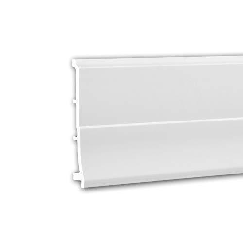 PRO[f]home® - Zócalo 653105 Perfil de estuco Moldura decorativa diseño moderno blanco 2 m