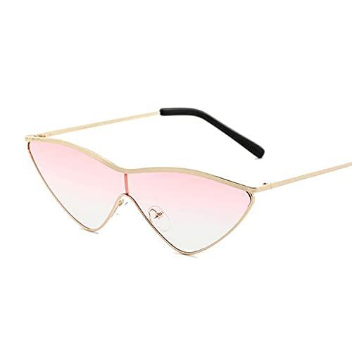 Heigmz Nvtyj Gafas de sol retro de ojo de gato de oro rosa espejo gafas de sol para mujer de metal reflectante gafas de sol mujer (color: doble rojo)