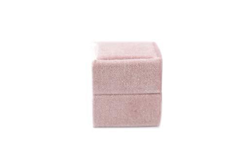 Velvet Square Single Ring Box, Photography Prop, Vintage Wedding Ceremony Ring Box Detachable Lid, Engagement, Modern Slim Ring Box Display (Rose Pink, Single Ring Box) (Rose Pink, Single Ring Box)