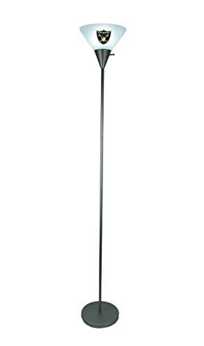 Aluminum Floor Lamps Oakland Raiders Logo Torchiere Floor Lamp 9.75 X 67.5 X 9.75 Inches Silver
