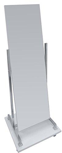 Dila GmbH Standspiegel Rollspiegel mit Holzsockel, Schwenk- und Rollbar, beidseitig, verchromtes Gestell | Garderobenspiegel Anprobespiegel Therapiespiegel (Weiß)