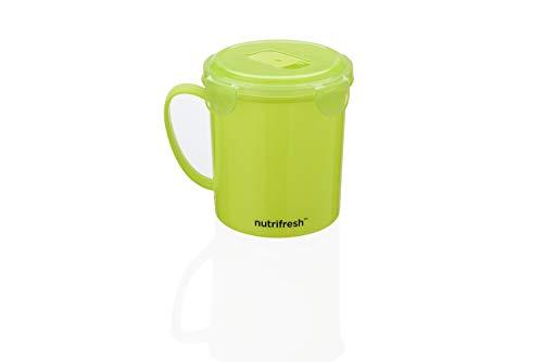 Nutrifresh to Go - Taza de sopa de plástico apta para microondas, tapa con clip, 625 ml, color verde