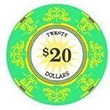 Classic Scroll Ceramic 10 Gram Poker Chips - 100 Poker Chips (20 Dollar)