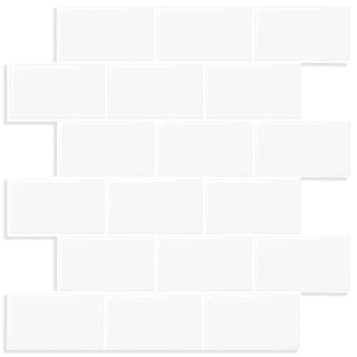 (10 Piezas) vinilos cocina azulejos pegatinas de baldosas adhesivos cocina baño pegatinas de pared blanco Ladrillos 3d pared engrosadas para Cocina y Baño, (30 x 30 cm)