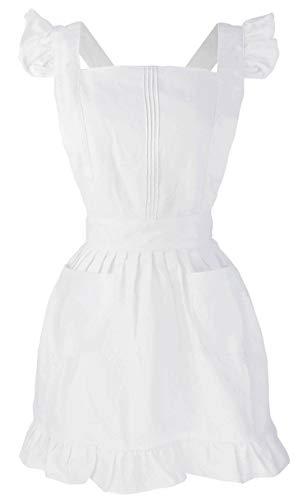 LilMents Dienstmädchen Rüschen Retro Schürze Küche Kochschürze Kochen Putzen Küchenschürze Kostüme (weiß)